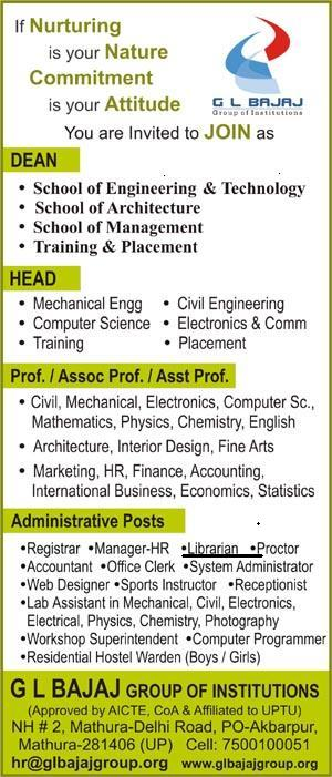 Required Librarian at G L Bajaj Group of Institutions, Mathura