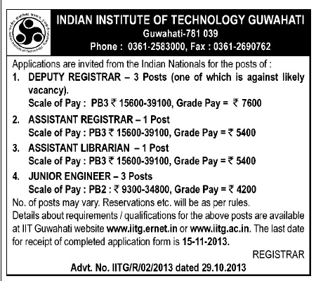 IIT, Guwahati, Assam Vacancy for the Post of Assistant Librarian