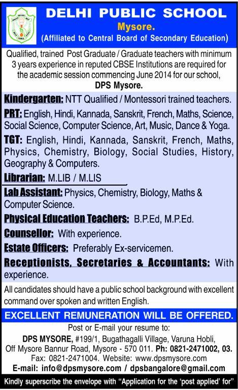 Required Librarian at Delhi Public School, Mysore
