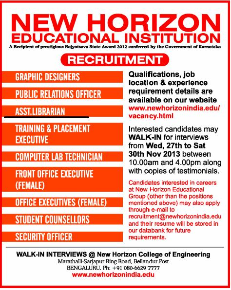 Walk-in- interview, for the Post of Assistant Librarian at New Horizon Educational Institute, Bengaluru