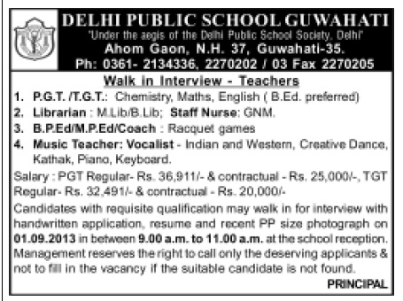 Walk in Interview at Delhi Public School, Guwahati for the Posts of Librarian