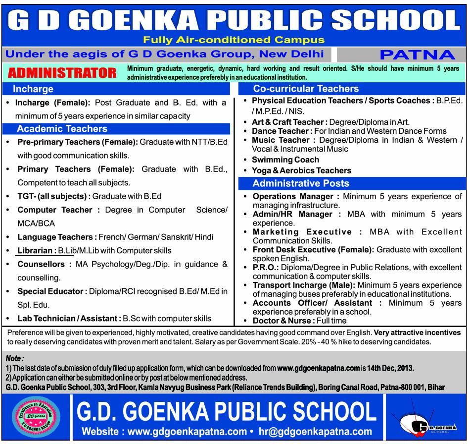 Required Librarian at G D Goenka Public School, Patna, Bihar