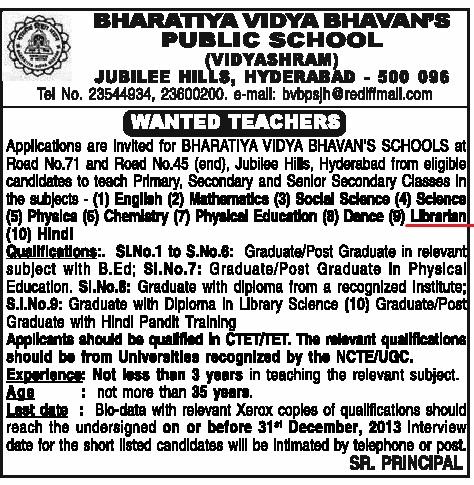 Vacancy for Librarian at Bharatiya Vidya Bhavan's Public School, Hyderabad