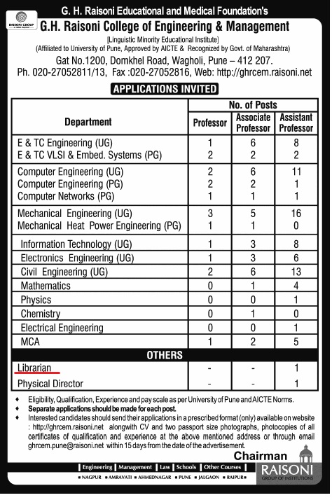 Vacancy For Librarian at G.H. Raisoni College of Engineering & Management, Pune