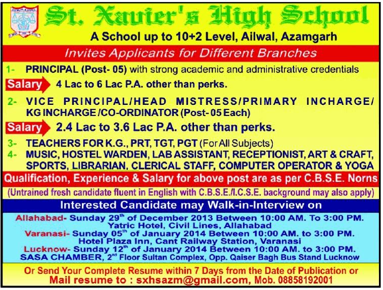 Vacancy for Librarian at St. Xavier's High School, Azamgarh, U.P.