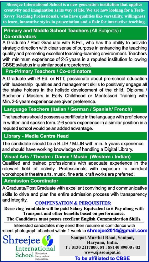 Vacancy for Library - Media Centre Head at Shreejee International School, Sonipat, Haryana