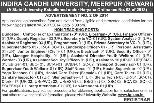 Vacancy for Librarian at Indira Gandhi University, Meerpur. Rewari