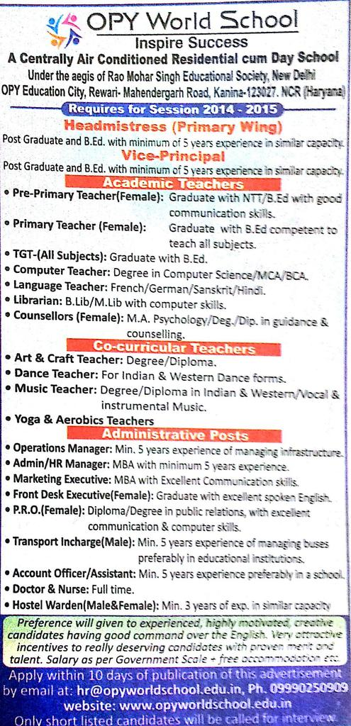 Vacancy for Librarian at OPY Global School, Haryana