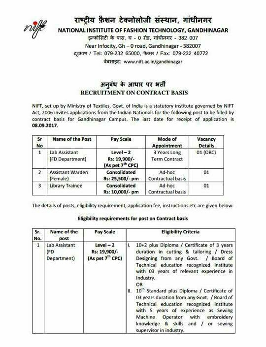 Library Trainee At National Institute Of Fashion Technology Nift Gandhinagar Lis Links