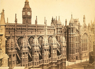 Westminster, with The Henry VII Chapel and Clock Tower of The Houses of Parliament, Stephen Ayling, about 1869