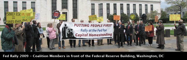 Coalition Members in front of the Fed at 2009 Rally