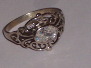 Antique Colorless Diamond Ring on Silver mount