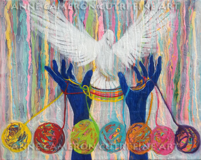 Prophetic message sketch 20 WHAT WOMAN WILL RISE UP Yarn Hands Woven nest or bridge for Dove - Anne Cameron Cutri