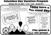 Columbus Day Vacation Program (K-8)