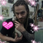 My fiance Ben and Chi the rescue ferret