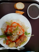 Rice w/ potatoes, cabbage + Black beans sweet porridge