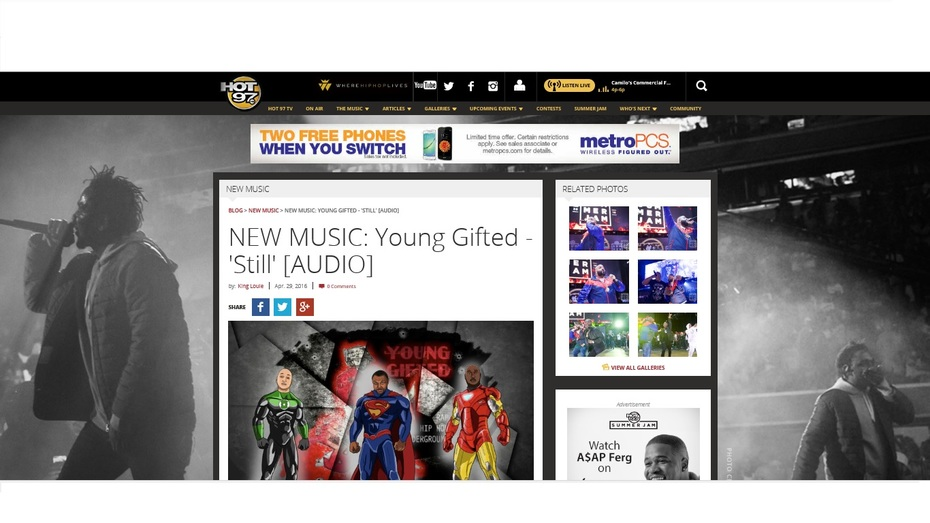 """Hot97.com Featuring Young Gifted Hit Single """"STILL"""""""