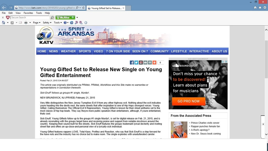 ABC News 7 Arkansas Featuring Young Gifted