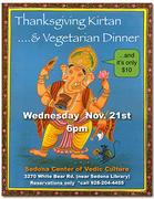 Thanksgiving Eve Kirtan & Vegetarian Dinner - TONIGHT!