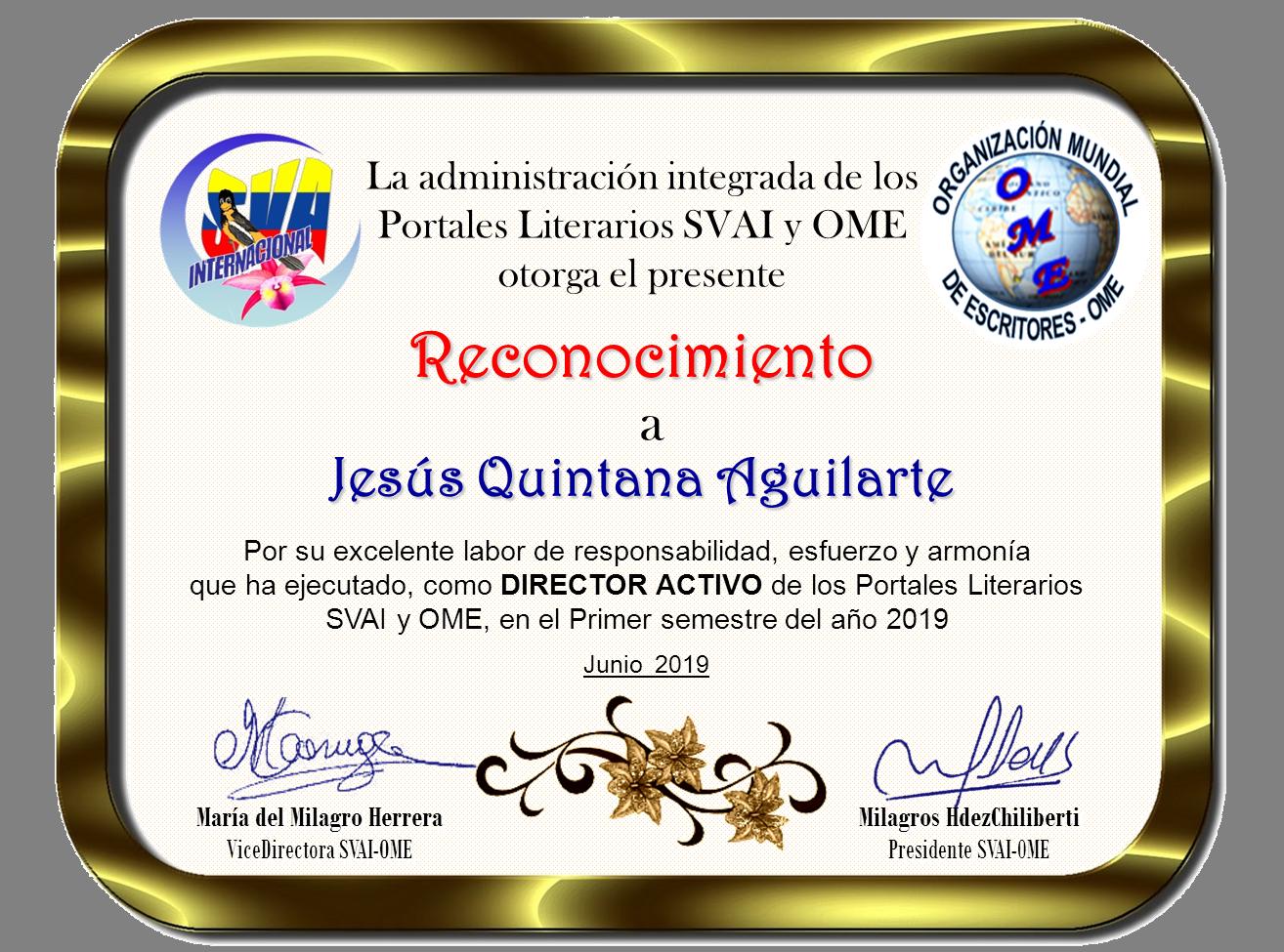 JESÚS QUINTANA AGUILARTE-RECONOCIMIENTO