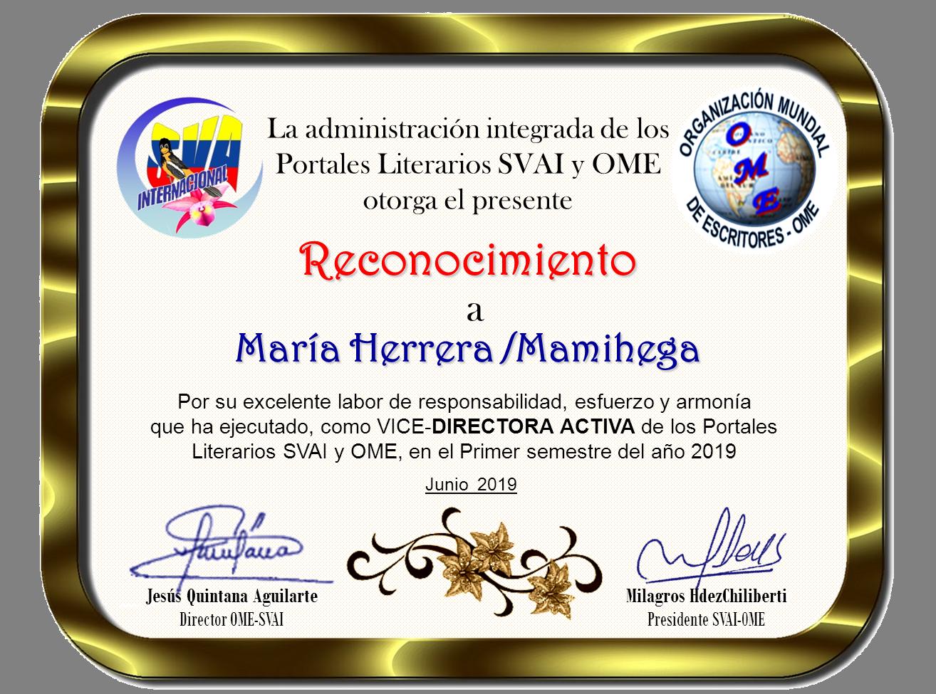 MARÍA HERRERA.MAMIHEGA-RECONOCIMIENTO