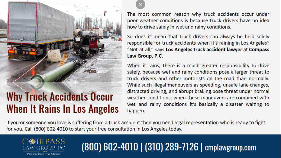Why Truck Accidents Occur When It Rains In Los Angeles
