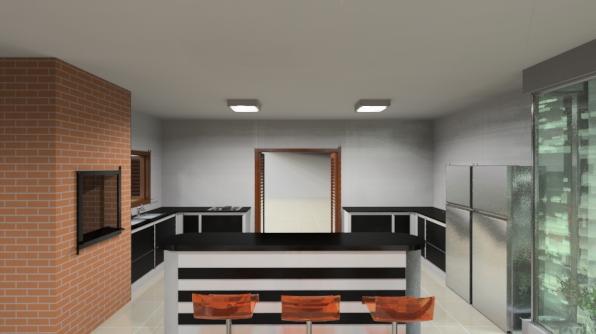 Vista sala de jantar para ilha móvel e cozinha