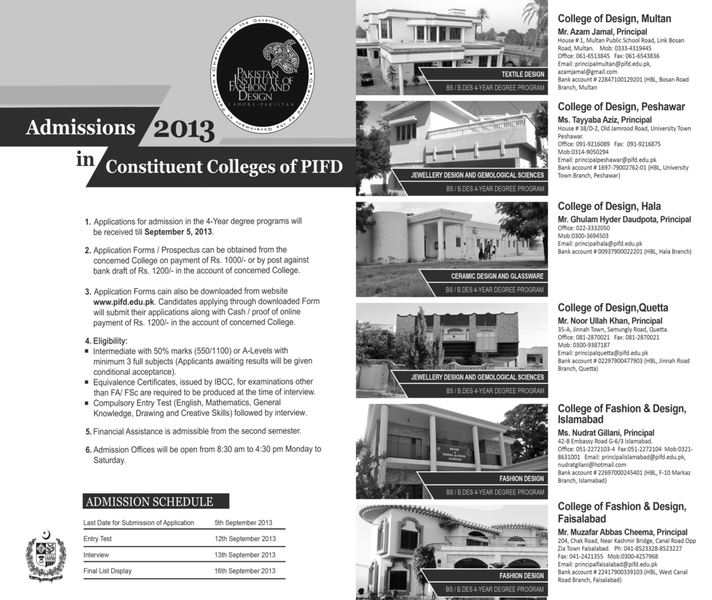 Pakistan Institute Of Fashion And Design Admission In Bs 4 Year Degree Programme 2013 2017 Virtual University Of Pakistan