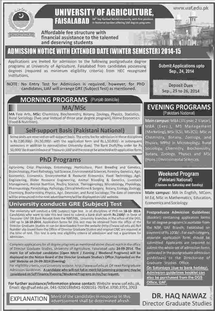 Admissions 2014-2015 UAF Admissions Notice September, 2014 – Virtual