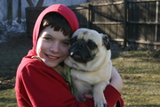 Our son Willie, with our friend's pug, Willy.