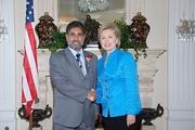 Sarfaraz Khan with Senator Hillary Clinton