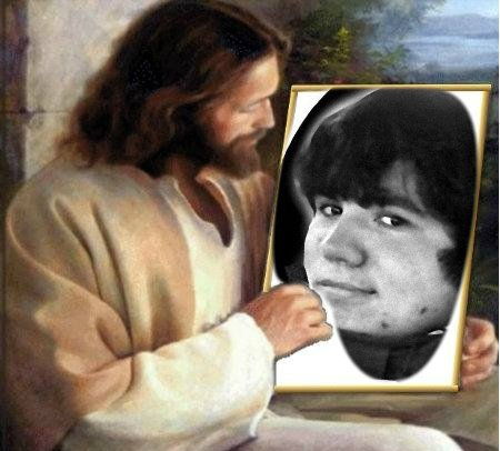 Jesus holding a picture of Tim