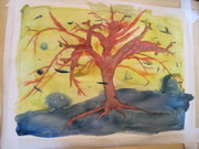 Yggdrasil wet on dry watercolor