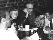 MY DAUGHTER DEBBIE, AND SON SEAN, WITH SEAN'S GODFATHER,  ILLINOIS JACQUET.  HOWARD MCGHEE SITS NEXT TO DEBBIE AT SWEET BASIL IN NYC, MID 1980s