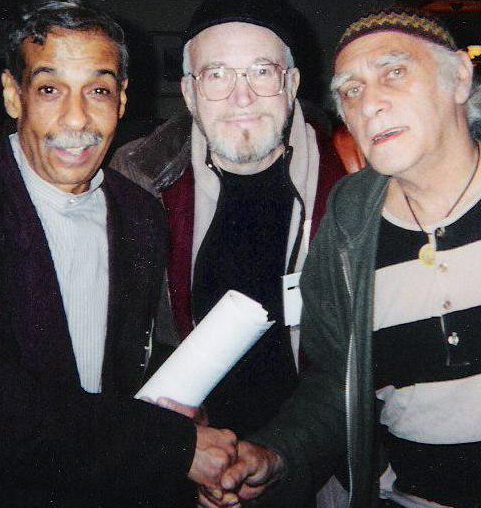 SPECIAL DRUMMER, JIMMY WORMWORTH (L) AND SUPER SAXIST, ARNIE LAWRENCE WITH ME AT IAJE, 2001