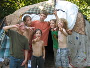 Me and my brothers in front of our sweat lodge