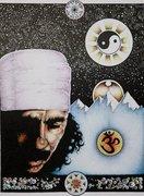 Carlos Santana painted by Tim Koslo