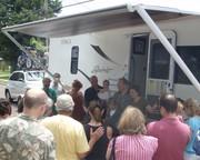 Olson Family christens their traveling art mobile.