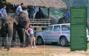 Model and a car at Elephant Camp