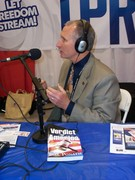 "Bill Ponath, author of ""Verdict For America"" doing a radio interview at the Tea Party Summit Feb. 27, 2011"