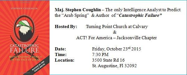 Steve Coughlin in St. Augustine Fri. Oct 23, 2015