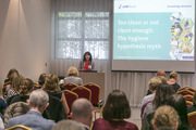 Dr Linda Gordon presents at the 'Too clean, or not clean enough? The hygiene hypothesis myth' event