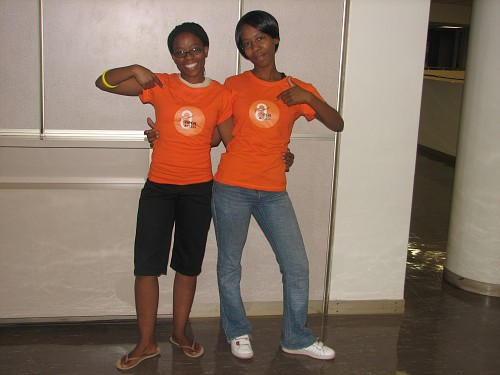 Aubza Masie and Dineo Tshosa in their Open Access T-shirts