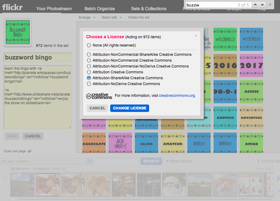 Screenshot: Changing the license on Flickr