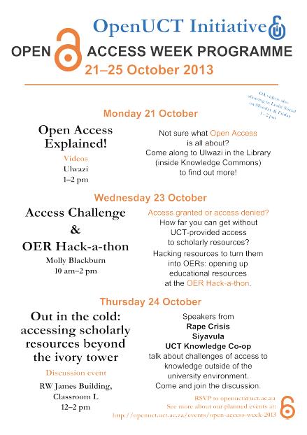 UCT OA Week Programme