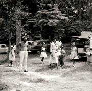 Employees enjoy Barbecue Picnic 1957