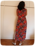 Red flowers dress back