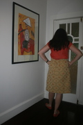 back view - gold brocade skirt from V1174