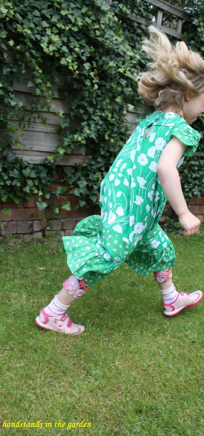 Green dress in the garden
