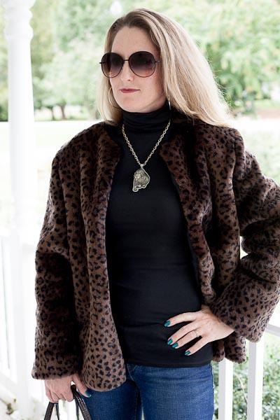 Dark chocolate faux fur jacket www.amystebbins.com
